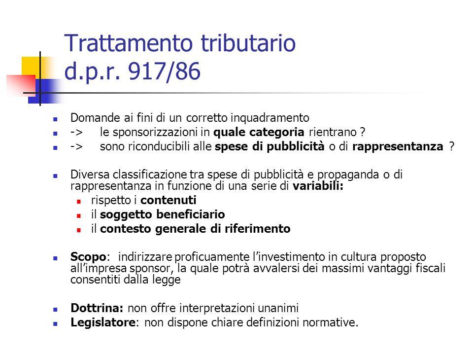 Trattamento tributario d.p.r. 917/86 Domande ai fini di un corretto inquadramento ->le sponsorizzazioni in quale categoria rientrano ? ->sono riconduc