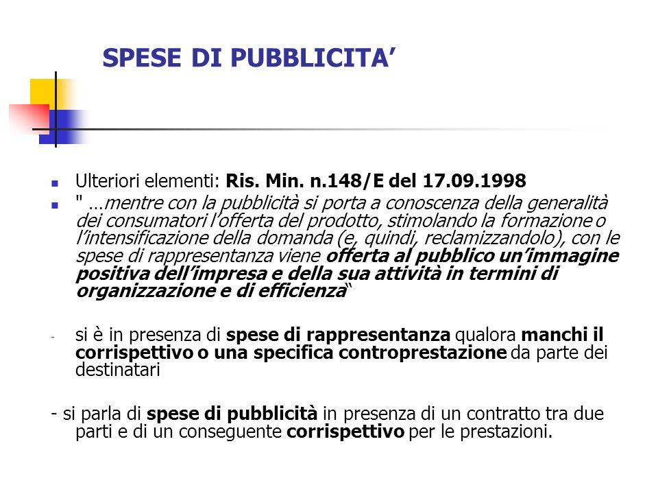 SPESE DI PUBBLICITA Ulteriori elementi: Ris. Min. n.148/E del 17.09.1998