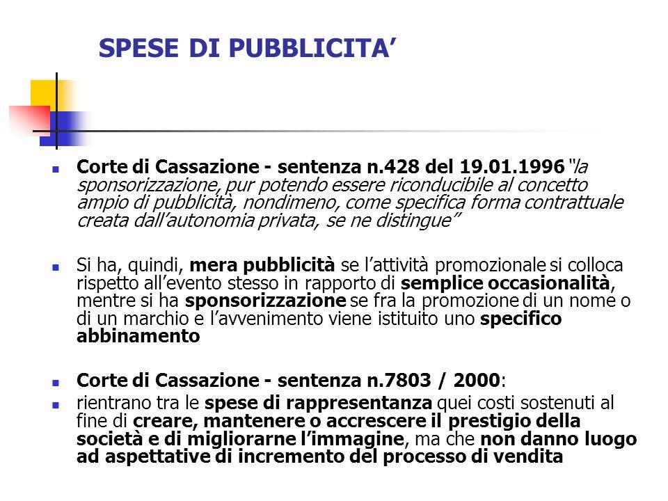 SPESE DI PUBBLICITA Corte di Cassazione - sentenza n.428 del 19.01.1996la sponsorizzazione, pur potendo essere riconducibile al concetto ampio di pubb