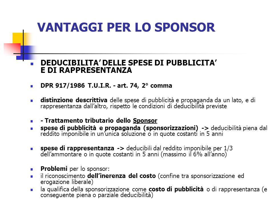 VANTAGGI PER LO SPONSOR DEDUCIBILITA DELLE SPESE DI PUBBLICITA E DI RAPPRESENTANZA DPR 917/1986 T.U.I.R. - art. 74, 2° comma distinzione descrittiva d