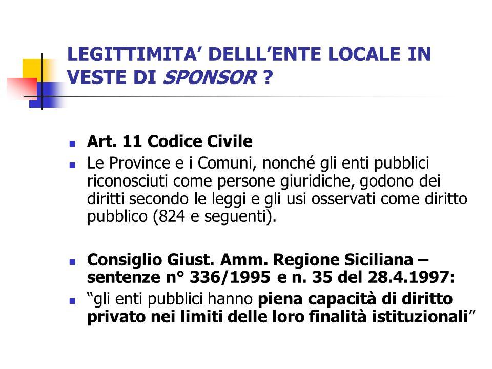 LEGITTIMITA DELLLENTE LOCALE IN VESTE DI SPONSOR ? Art. 11 Codice Civile Le Province e i Comuni, nonché gli enti pubblici riconosciuti come persone gi