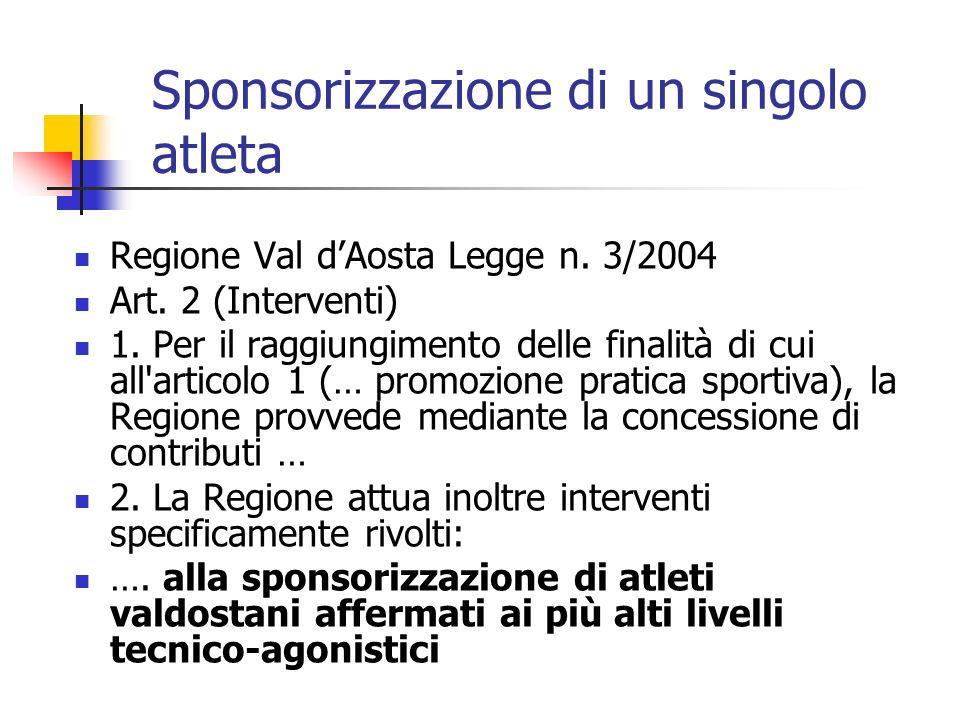 Regione Val dAosta Legge n. 3/2004 Art. 2 (Interventi) 1. Per il raggiungimento delle finalità di cui all'articolo 1 (… promozione pratica sportiva),