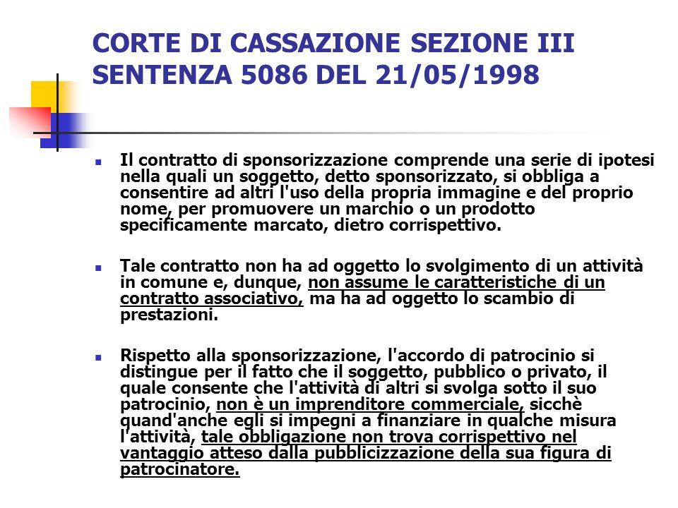 CORTE DI CASSAZIONE SEZIONE III SENTENZA 5086 DEL 21/05/1998 Il contratto di sponsorizzazione comprende una serie di ipotesi nella quali un soggetto,