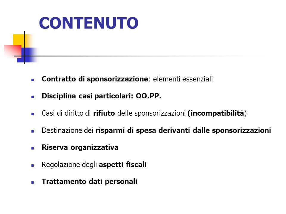 CONTENUTO Contratto di sponsorizzazione: elementi essenziali Disciplina casi particolari: OO.PP. Casi di diritto di rifiuto delle sponsorizzazioni (in