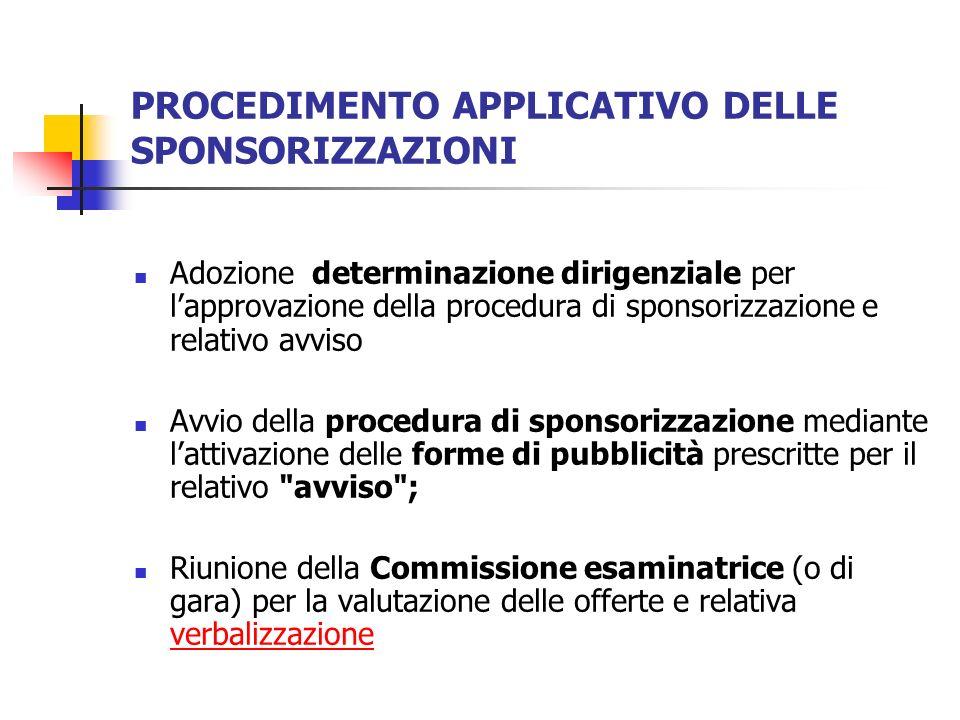 PROCEDIMENTO APPLICATIVO DELLE SPONSORIZZAZIONI Adozione determinazione dirigenziale per lapprovazione della procedura di sponsorizzazione e relativo