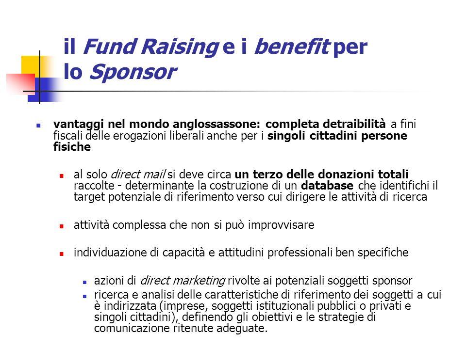 il Fund Raising e i benefit per lo Sponsor vantaggi nel mondo anglossassone: completa detraibilità a fini fiscali delle erogazioni liberali anche per