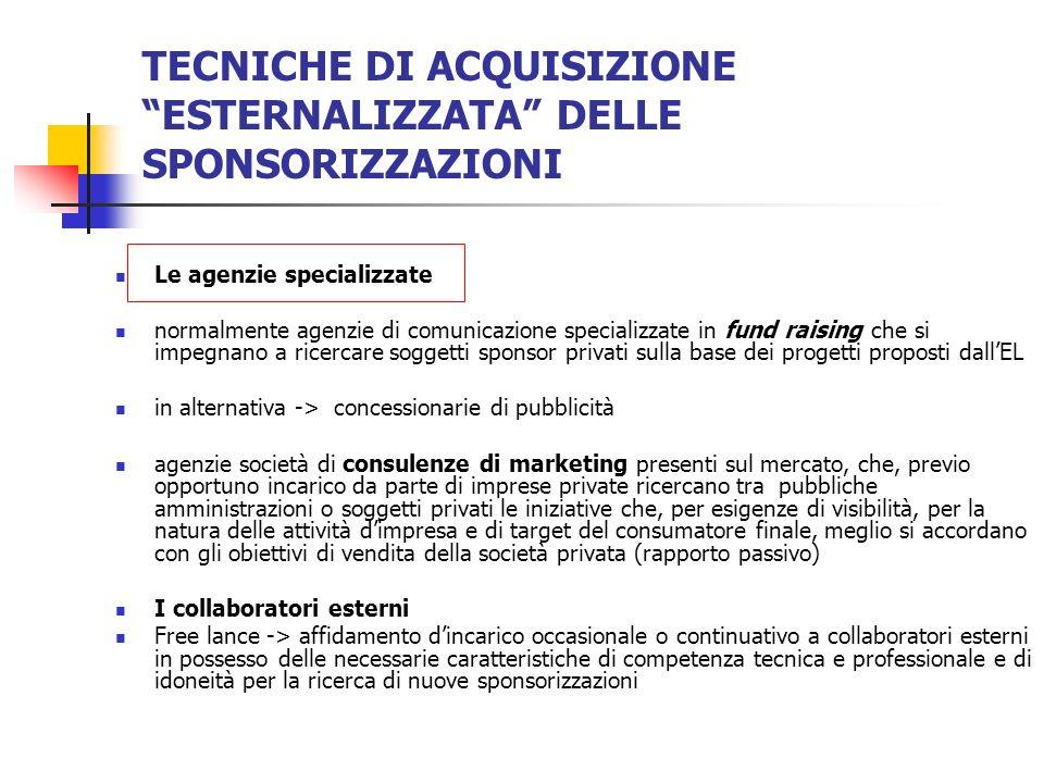 TECNICHE DI ACQUISIZIONE ESTERNALIZZATA DELLE SPONSORIZZAZIONI Le agenzie specializzate normalmente agenzie di comunicazione specializzate in fund rai