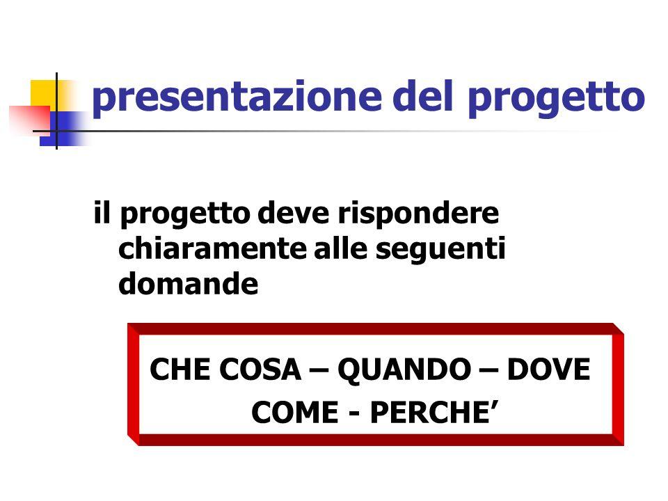 presentazione del progetto il progetto deve rispondere chiaramente alle seguenti domande CHE COSA – QUANDO – DOVE COME - PERCHE
