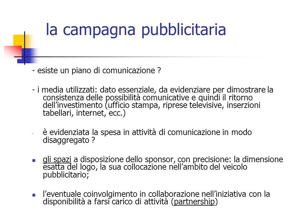 - esiste un piano di comunicazione ? - i media utilizzati: dato essenziale, da evidenziare per dimostrare la consistenza delle possibilità comunicativ