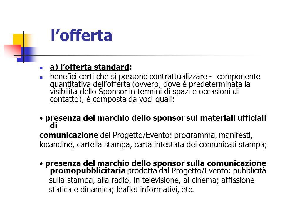 lofferta a) lofferta standard: benefici certi che si possono contrattualizzare - componente quantitativa dellofferta (ovvero, dove è predeterminata la