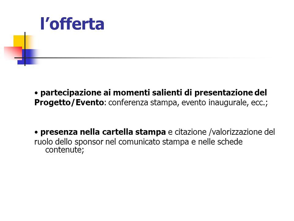 lofferta partecipazione ai momenti salienti di presentazione del Progetto/Evento: conferenza stampa, evento inaugurale, ecc.; presenza nella cartella