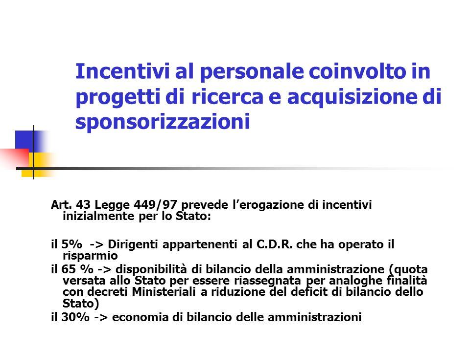 Incentivi al personale coinvolto in progetti di ricerca e acquisizione di sponsorizzazioni Art. 43 Legge 449/97 prevede lerogazione di incentivi inizi