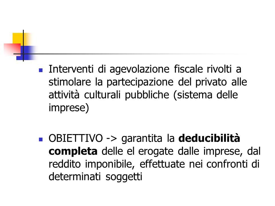 Interventi di agevolazione fiscale rivolti a stimolare la partecipazione del privato alle attività culturali pubbliche (sistema delle imprese) OBIETTI