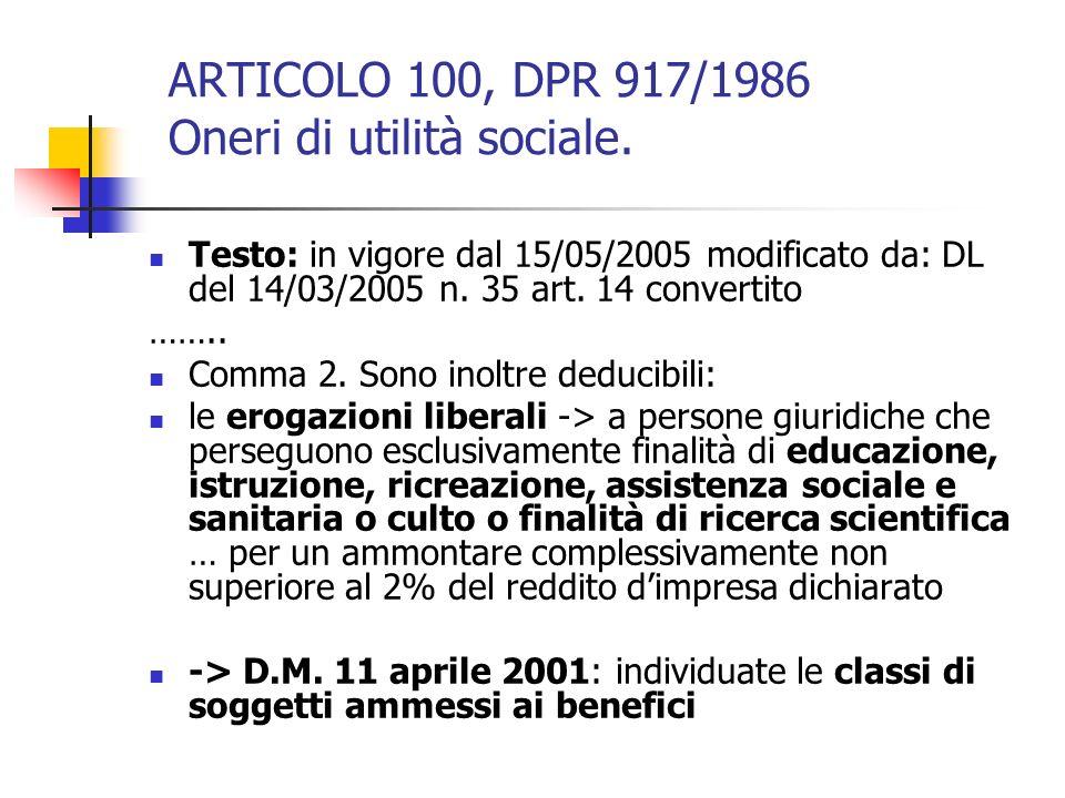 ARTICOLO 100, DPR 917/1986 Oneri di utilità sociale. Testo: in vigore dal 15/05/2005 modificato da: DL del 14/03/2005 n. 35 art. 14 convertito …….. Co