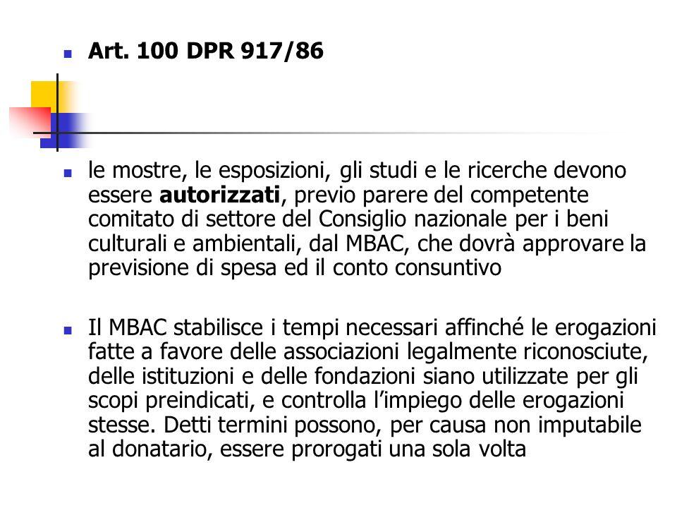 Art. 100 DPR 917/86 le mostre, le esposizioni, gli studi e le ricerche devono essere autorizzati, previo parere del competente comitato di settore del