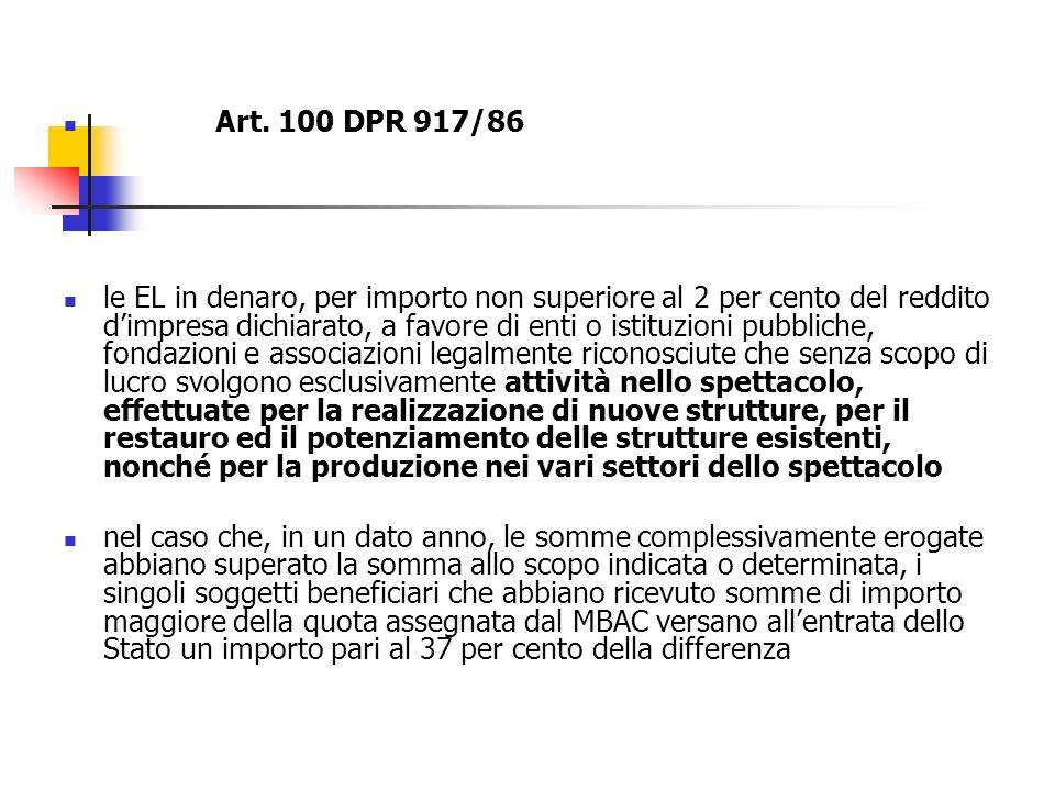 Art. 100 DPR 917/86 le EL in denaro, per importo non superiore al 2 per cento del reddito dimpresa dichiarato, a favore di enti o istituzioni pubblich