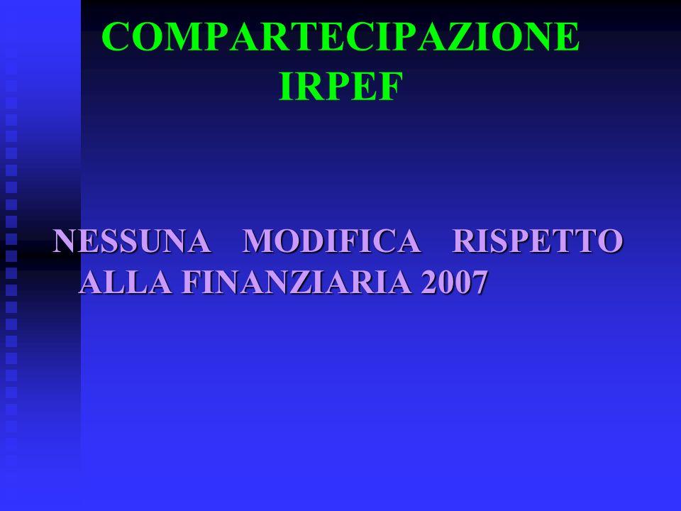 COMPARTECIPAZIONE IRPEF NESSUNA MODIFICA RISPETTO ALLA FINANZIARIA 2007