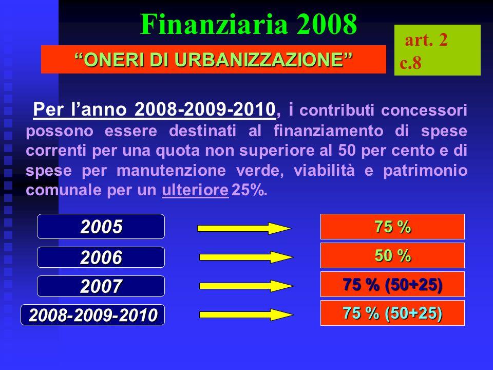 Finanziaria 2008 Per lanno 2008-2009-2010, i contributi concessori possono essere destinati al finanziamento di spese correnti per una quota non superiore al 50 per cento e di spese per manutenzione verde, viabilità e patrimonio comunale per un ulteriore 25%.