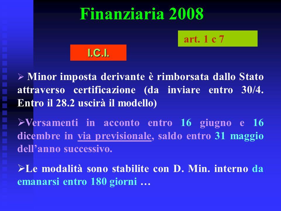 Finanziaria 2008 Minor imposta derivante è rimborsata dallo Stato attraverso certificazione (da inviare entro 30/4. Entro il 28.2 uscirà il modello) V