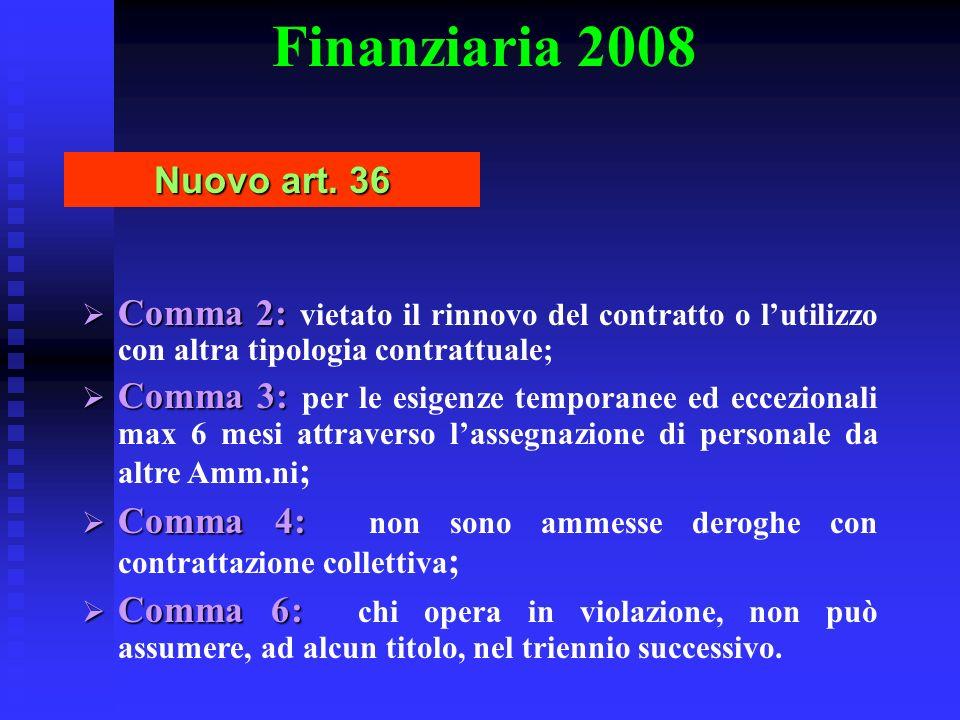 Finanziaria 2008 Nuovo art. 36 Comma 2: Comma 2: vietato il rinnovo del contratto o lutilizzo con altra tipologia contrattuale; Comma 3: Comma 3: per
