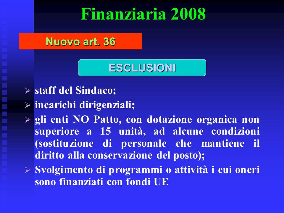 Finanziaria 2008 Nuovo art. 36 staff del Sindaco; incarichi dirigenziali; gli enti NO Patto, con dotazione organica non superiore a 15 unità, ad alcun