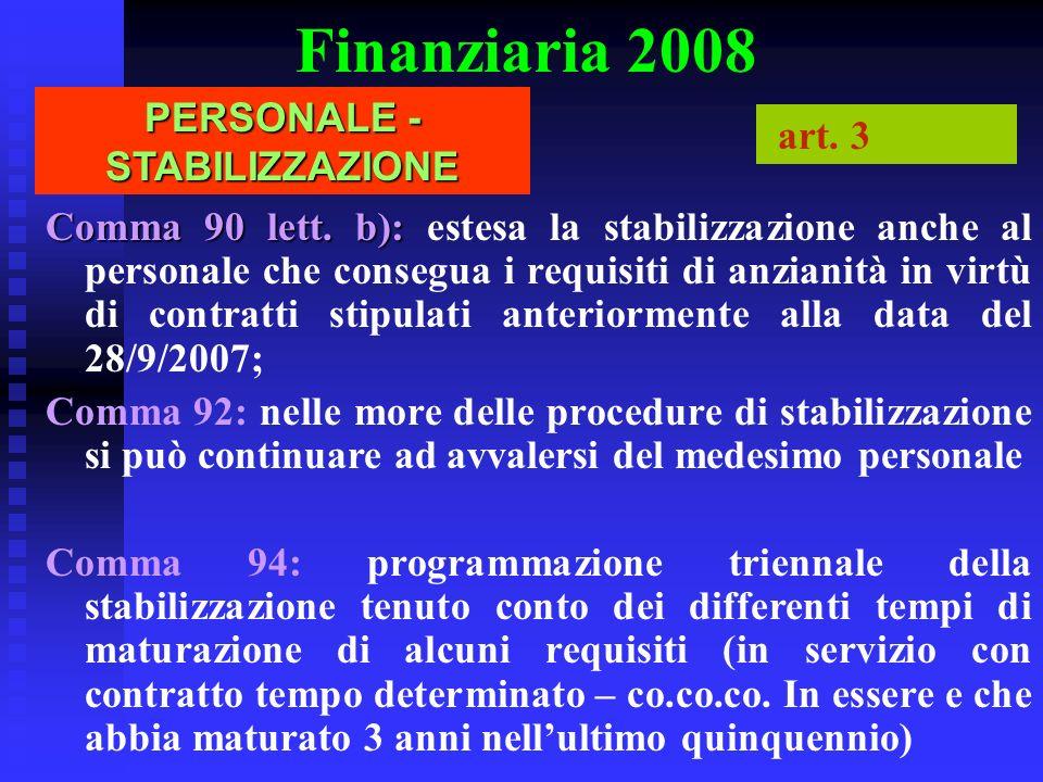 Finanziaria 2008 PERSONALE - STABILIZZAZIONE art. 3 Comma 90 lett. b): Comma 90 lett. b): estesa la stabilizzazione anche al personale che consegua i
