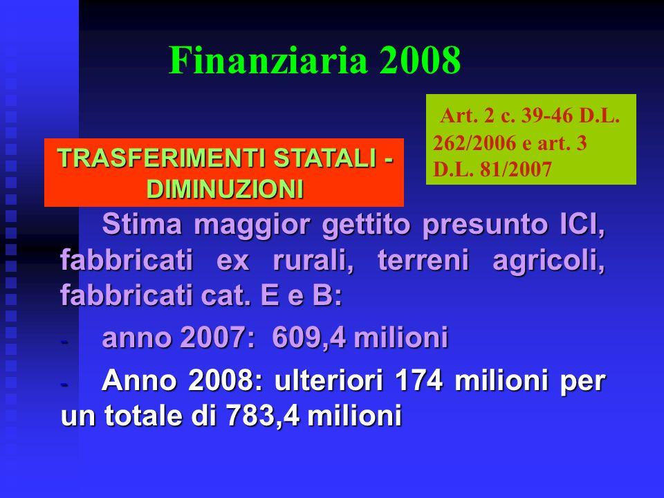 Finanziaria 2008 Stima maggior gettito presunto ICI, fabbricati ex rurali, terreni agricoli, fabbricati cat. E e B: - anno 2007: 609,4 milioni - Anno