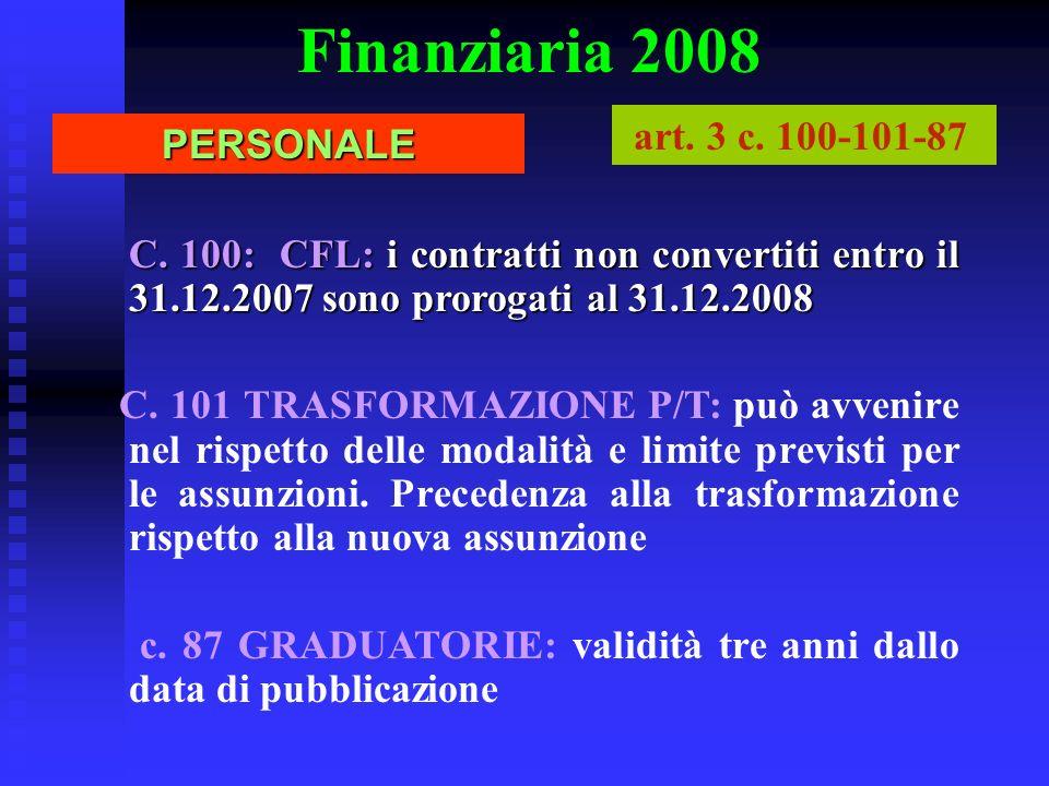 Finanziaria 2008PERSONALE art. 3 c. 100-101-87 C. 100: CFL: i contratti non convertiti entro il 31.12.2007 sono prorogati al 31.12.2008 C. 101 TRASFOR