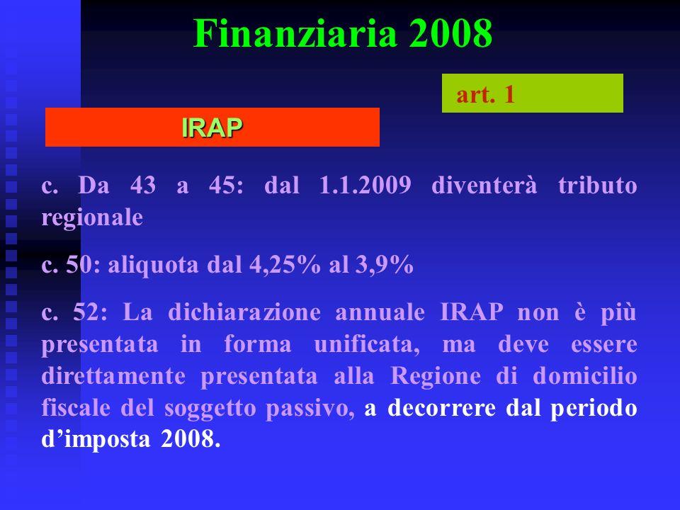 Finanziaria 2008 c. Da 43 a 45: dal 1.1.2009 diventerà tributo regionale c. 50: aliquota dal 4,25% al 3,9% c. 52: La dichiarazione annuale IRAP non è