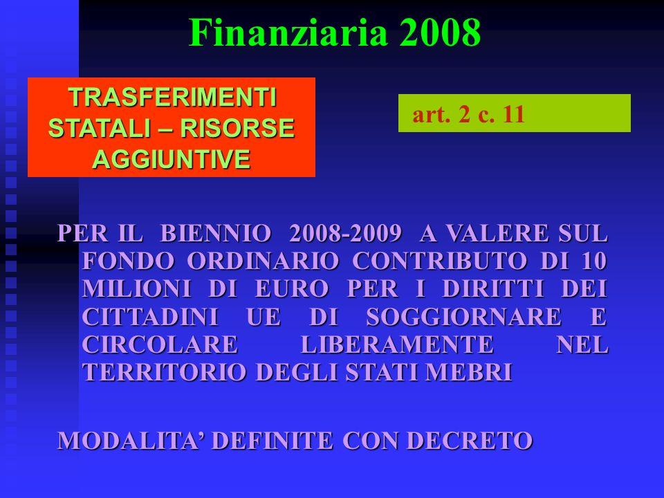 Finanziaria 2008 TRASFERIMENTI STATALI – RISORSE AGGIUNTIVE art. 2 c. 11 PER IL BIENNIO 2008-2009 A VALERE SUL FONDO ORDINARIO CONTRIBUTO DI 10 MILION