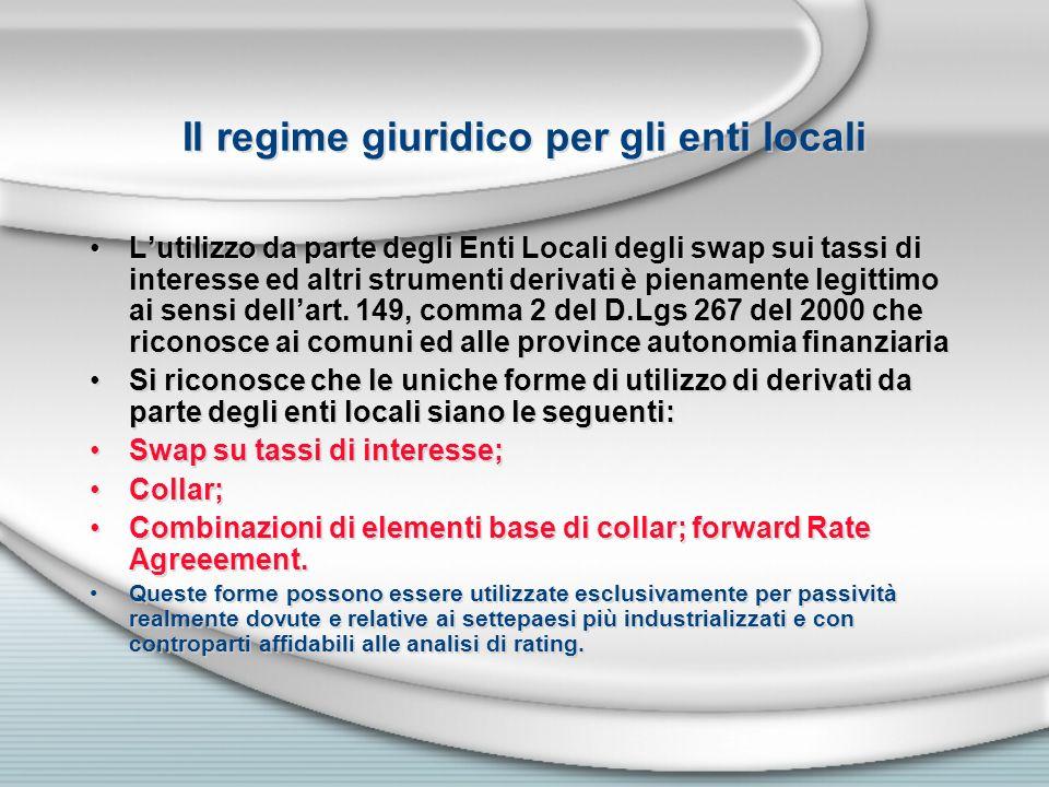 Il regime giuridico per gli enti locali Lutilizzo da parte degli Enti Locali degli swap sui tassi di interesse ed altri strumenti derivati è pienament