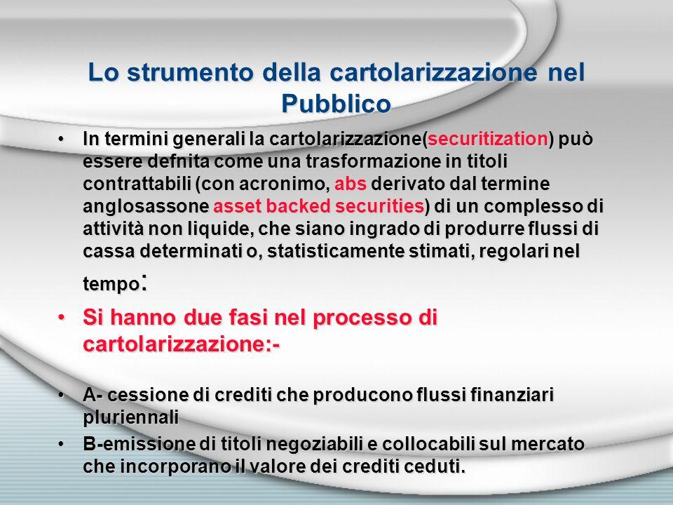 Lo strumento della cartolarizzazione nel Pubblico In termini generali la cartolarizzazione(securitization) può essere defnita come una trasformazione