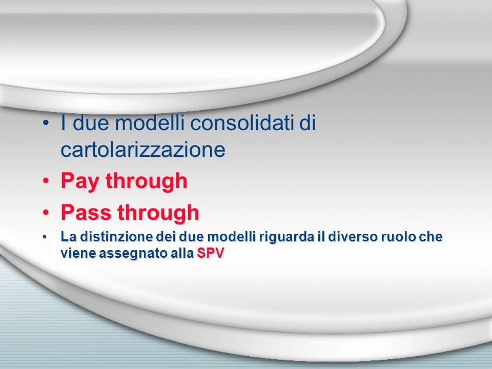 I due modelli consolidati di cartolarizzazione Pay through Pass through La distinzione dei due modelli riguarda il diverso ruolo che viene assegnato a
