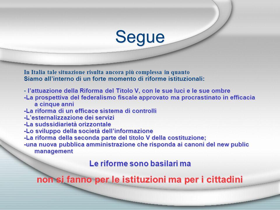 Segue In Italia tale situazione risulta ancora più complessa in quanto Siamo allinterno di un forte momento di riforme istituzionali: - lattuazione de