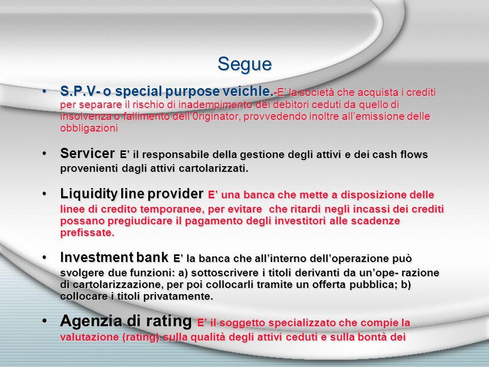 Segue S.P.V- o special purpose veichle. -E la società che acquista i crediti per separare il rischio di inadempimento dei debitori ceduti da quello di