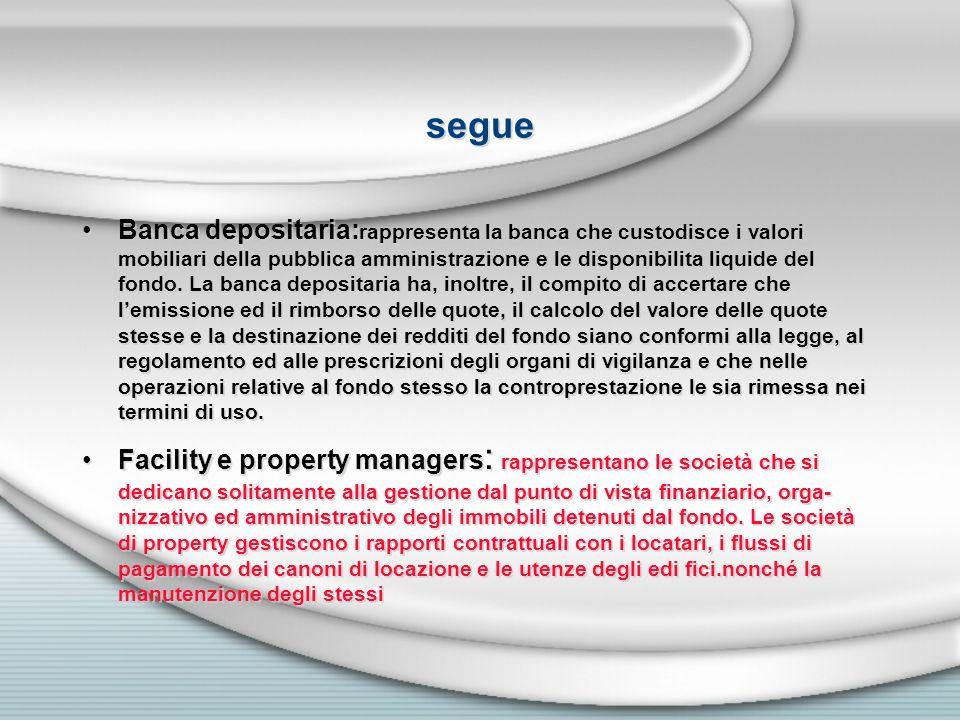 segue Banca depositaria: rappresenta la banca che custodisce i valori mobiliari della pubblica amministrazione e le disponibilita liquide del fondo. L