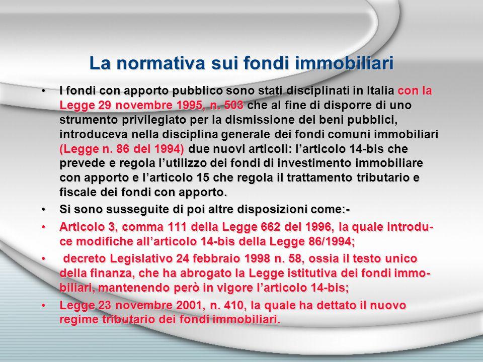 La normativa sui fondi immobiliari I fondi con apporto pubblico sono stati disciplinati in Italia con la Legge 29 novembre 1995, n. 503 che al fine di