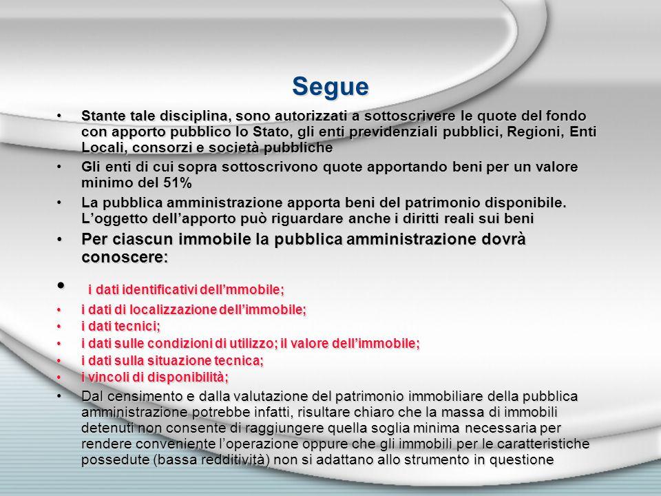 Segue Stante tale disciplina, sono autorizzati a sottoscrivere le quote del fondo con apporto pubblico lo Stato, gli enti previdenziali pubblici, Regi