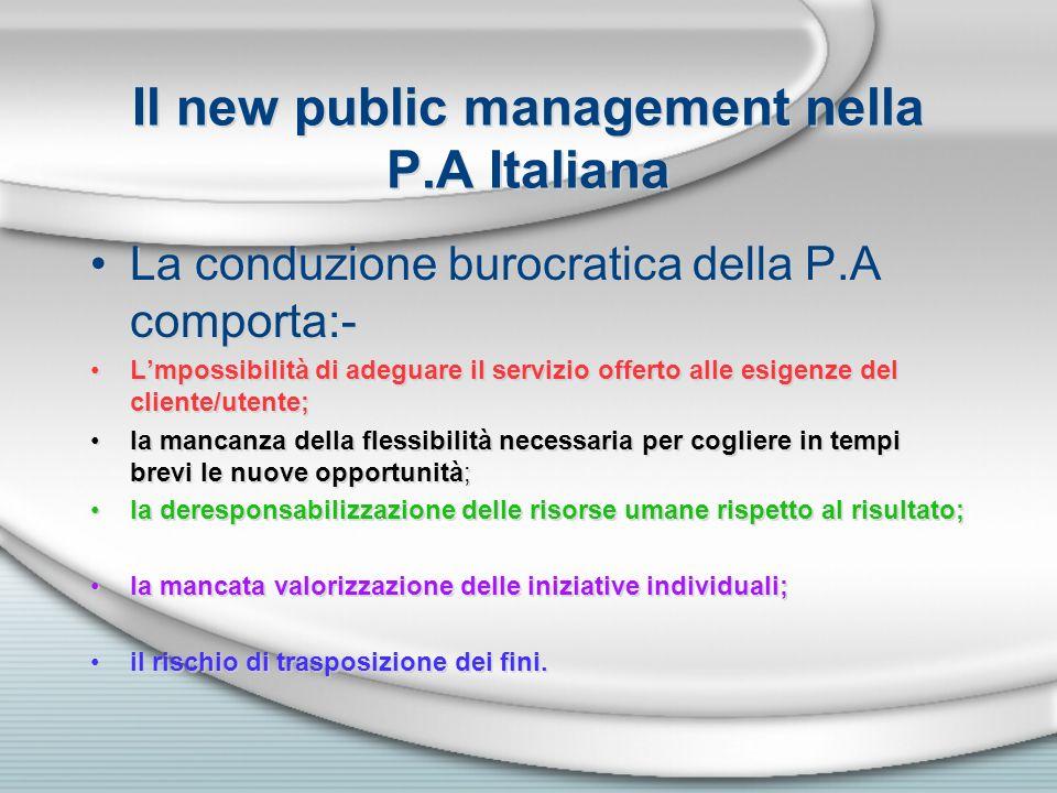 Il new public management nella P.A Italiana La conduzione burocratica della P.A comporta:- Lmpossibilità di adeguare il servizio offerto alle esigenze