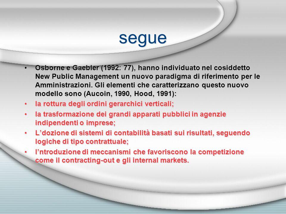 segue Osborne e Gaebler (1992: 77), hanno individuato nel cosiddetto New Public Management un nuovo paradigma di riferimento per le Amministrazioni. G