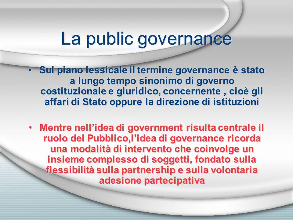 La public governance Sul piano lessicale il termine governance è stato a lungo tempo sinonimo di governo costituzionale e giuridico, concernente, cioè
