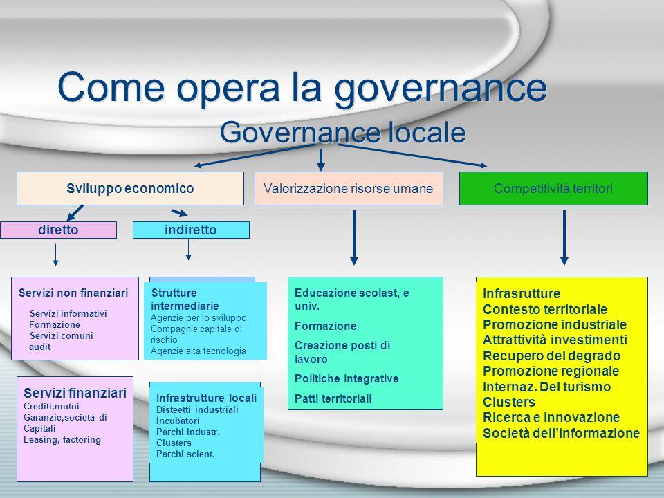 Come opera la governance Governance locale Sviluppo economicoValorizzazione risorse umaneCompetitività territori direttoindiretto Servizi non finanzia