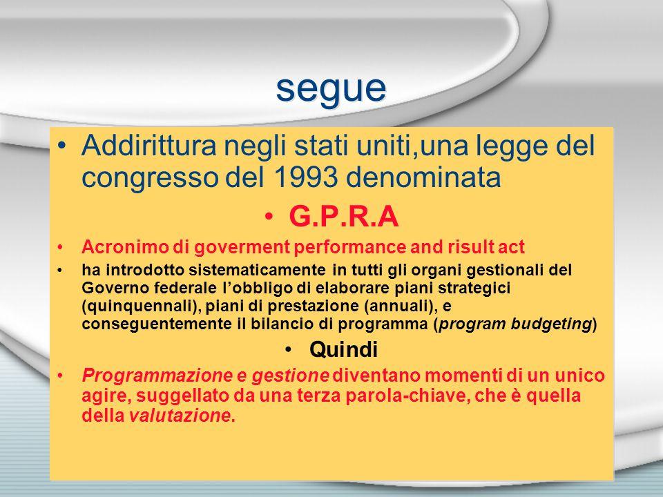 segue Addirittura negli stati uniti,una legge del congresso del 1993 denominata G.P.R.A Acronimo di goverment performance and risult act ha introdotto