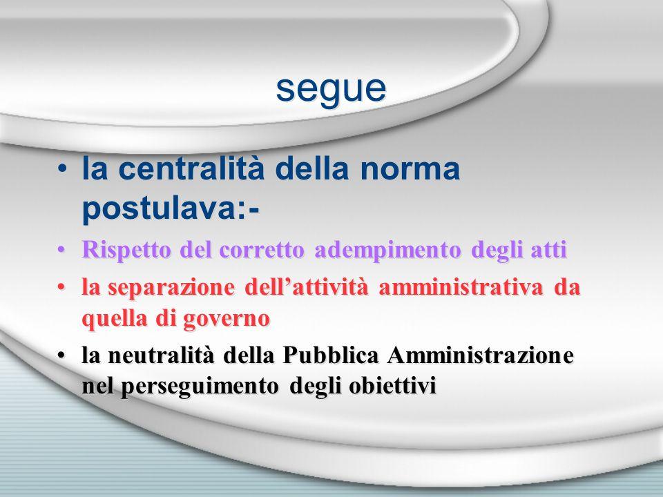 segue la centralità della norma postulava:- Rispetto del corretto adempimento degli atti la separazione dellattività amministrativa da quella di gover