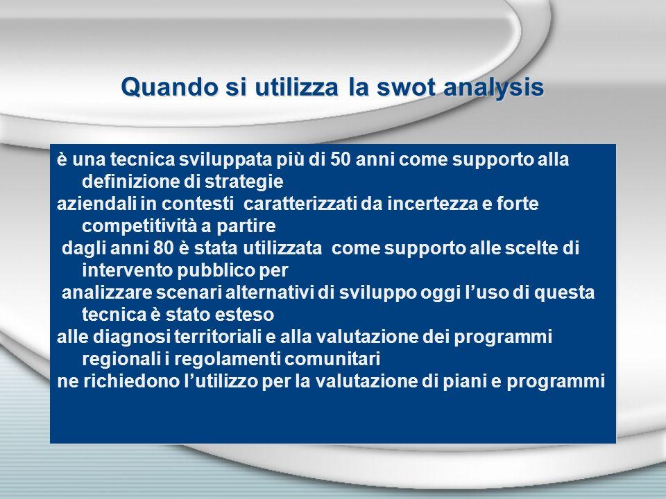 Quando si utilizza la swot analysis è una tecnica sviluppata più di 50 anni come supporto alla definizione di strategie aziendali in contesti caratter