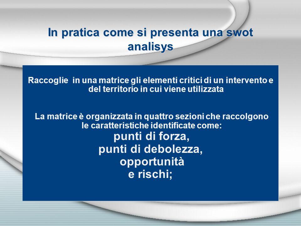 In pratica come si presenta una swot analisys Raccoglie in una matrice gli elementi critici di un intervento e Raccoglie in una matrice gli elementi c
