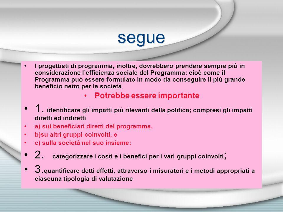 segue I progettisti di programma, inoltre, dovrebbero prendere sempre più in considerazione lefficienza sociale del Programma; cioè come il Programma