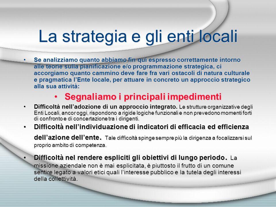 La strategia e gli enti locali Se analizziamo quanto abbiamo fin qui espresso correttamente intorno alle teorie sulla pianificazione e/o programmazion