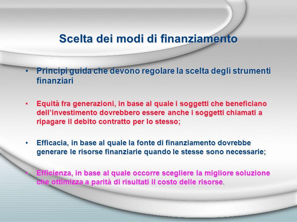 Scelta dei modi di finanziamento Principi guida che devono regolare la scelta degli strumenti finanziari Equità fra generazioni, in base al quale i so