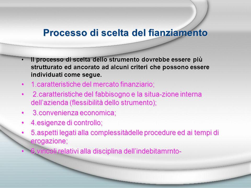 Processo di scelta del fianziamento Il processo di scelta dello strumento dovrebbe essere più strutturato ed ancorato ad alcuni criteri che possono es